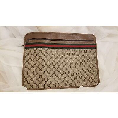 100% Authentic 1970's Gucci Canvas Zip Portfolio Briefcase Bag