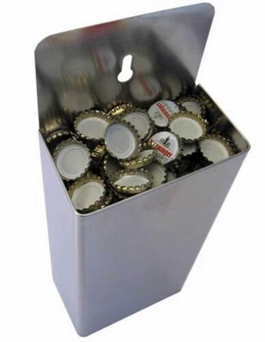 WANDKAPSELFÄNGER aus Edelstahl für Bier Coka Cola  Kronkorken Sammeldose Theke