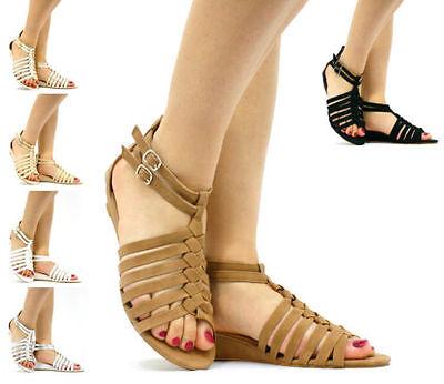 Nuevo para mujer de verano con tiras de Gatito Cuña Sandalia Zapatos GLADIADORES HEBILLA