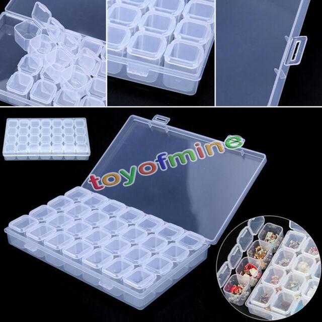 28 Slots Aufbewahrungsbox Einstellbare Box Kunststoff-Perlen Schmuckschatullen