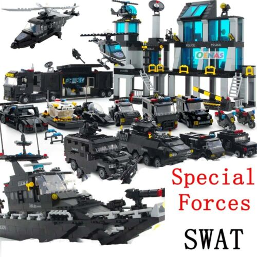 Police SWAT Military Boat Tank Jeep Army Minifigure Building Blocks War Toy