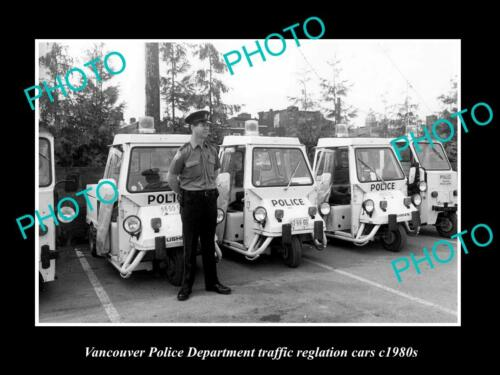 OLD LARGE HISTORIC PHOTO OF VANCOUVER CANADA, THE POLICE TRAFFIC CARS c1980