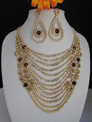 A WOMEN GOLD CHAIN STATEMENT JEWELRY SILVER BROWN RHINESTONE NECKLACE EARRINGS