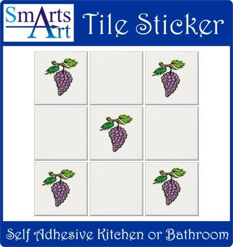 Carrelage transferts autocollants 5 x raisins couleur pleine imprimer tuile réorganiser en quelques minutes