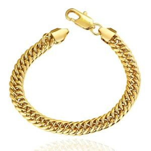 10k-Yellow-Gold-Filled-Miami-Cuban-Link-Bracelet-For-Men-Women-Franco-Rope