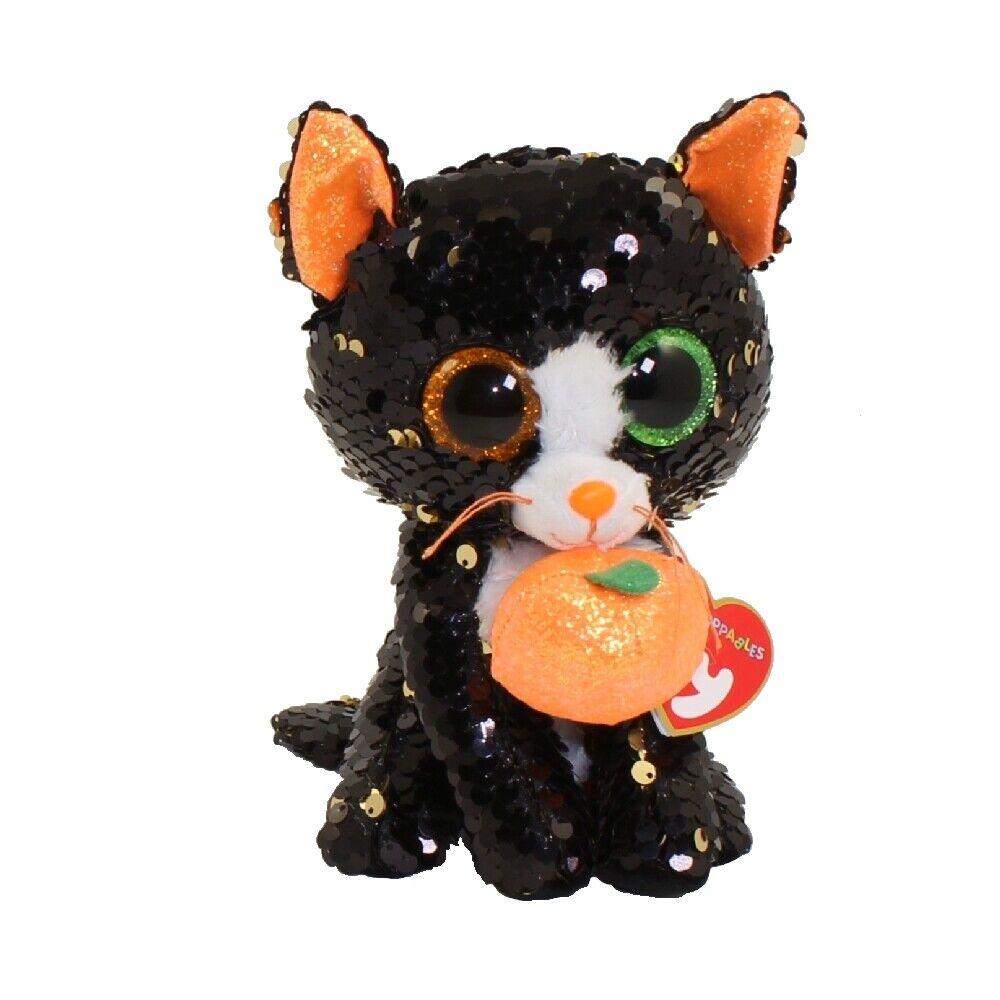 "2019 Halloween TY 6/"" Flippables JINX Cat Beanie Boos Sequins Plush w// Heart Tags"