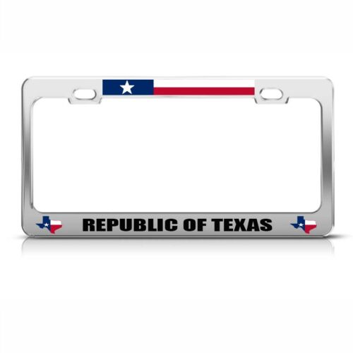 Republic Of Texas Chome Metal License Plate Frame Tag Holder