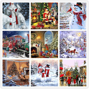 Christmas Paintings For Kids On Canvas.Details About Diy Paint By Number Kit Acrylic Oil Painting Wall Canvas Art Kids Christmas Gift