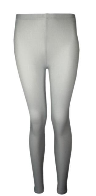 Girls Full Length Leggings Plain Neon Shiny New Dance Stretch Teens 5-16 Years