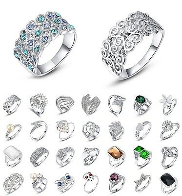 Women Fashion Jewelry 925 Silver 18K White Gold Filled Sterling Rings Wedding