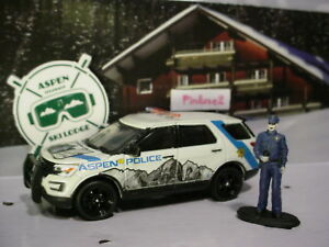 Greenlight-Aspen-Ski-2016-FORD-INTERCEPTOR-UTILITY-amp-Police-Officer-white-loose