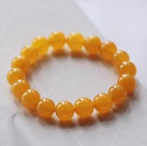 Natural-yellow-jasper-chalcedony-beads-gemstone-stretch-women-bracelet-jewelry
