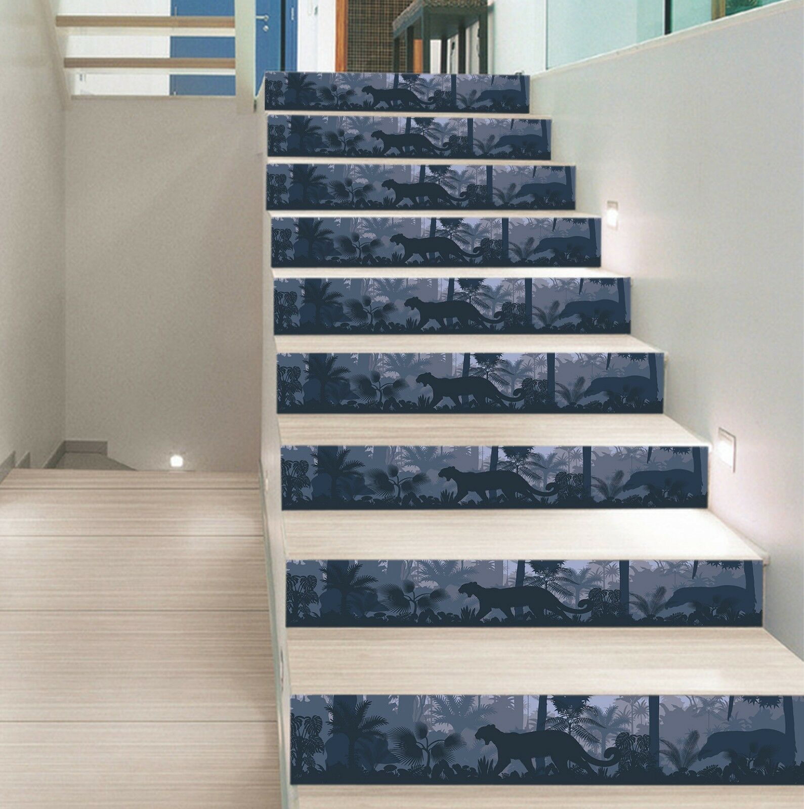 3D Woods Leopard 8 Tile Marble Stair Risers Photo Mural Vinyl Decal Wallpaper