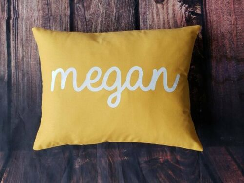 Custom print colors Custom made personalized name yellow cotton pillow cover