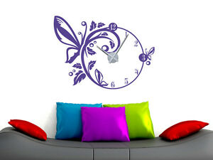 wandtattoo uhr wanduhr mit uhrwerk f r wohnzimmer schmetterling blumen bl ten ebay. Black Bedroom Furniture Sets. Home Design Ideas