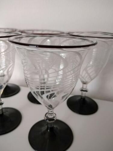 Art Deco // Weiß,Mundgeblasen Schwarz Lila Aperitif-gläser Lauscha Fadenglas