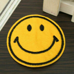 Smiley Face Embroidered Iron On  Sew On Patch Clothes  T Shirt Badge