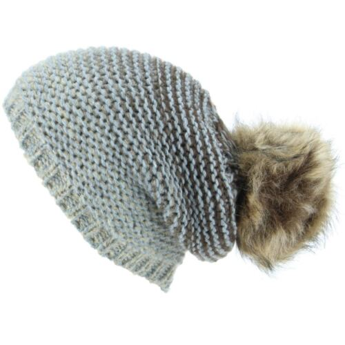 Hat Chunky Knit Fade Tone Slouch Beanie Fur Blue Brown New Winter Bobble Ski