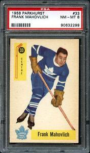 1958-Parkhurst-FRANK-MAHOVLICH-Hockey-Card-33-NEAR-MINT-Graded-PSA-8