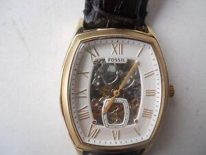 Armband- & Taschenuhren W-resistant Temperamentvoll Fossil Herren Automatisch Schwarzes Leder Band.analog