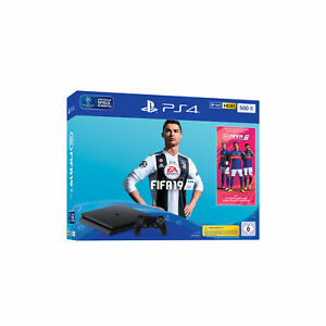 Sony-ps4-500gb-JET-BLACK-EA-SPORTS-FIFA-19-Bundle-v2-HDR-merce-tedesca-NUOVO