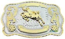 Western Bull Rider Rodeo Cowboy Two Tone Large Belt Buckle