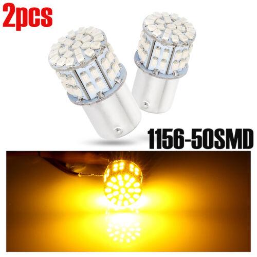 2x Amber 12-24V 50W LED OSRAM 1156 BAU15S PY21W Car Turn Tail Lights Bulbs Power