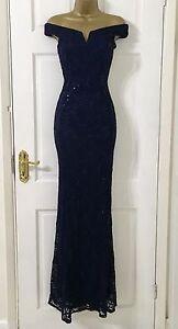 ecbc824b2ed Womens £65 EX QUIZ Navy Lace Sequin Bardot Fishtail Maxi Evening ...