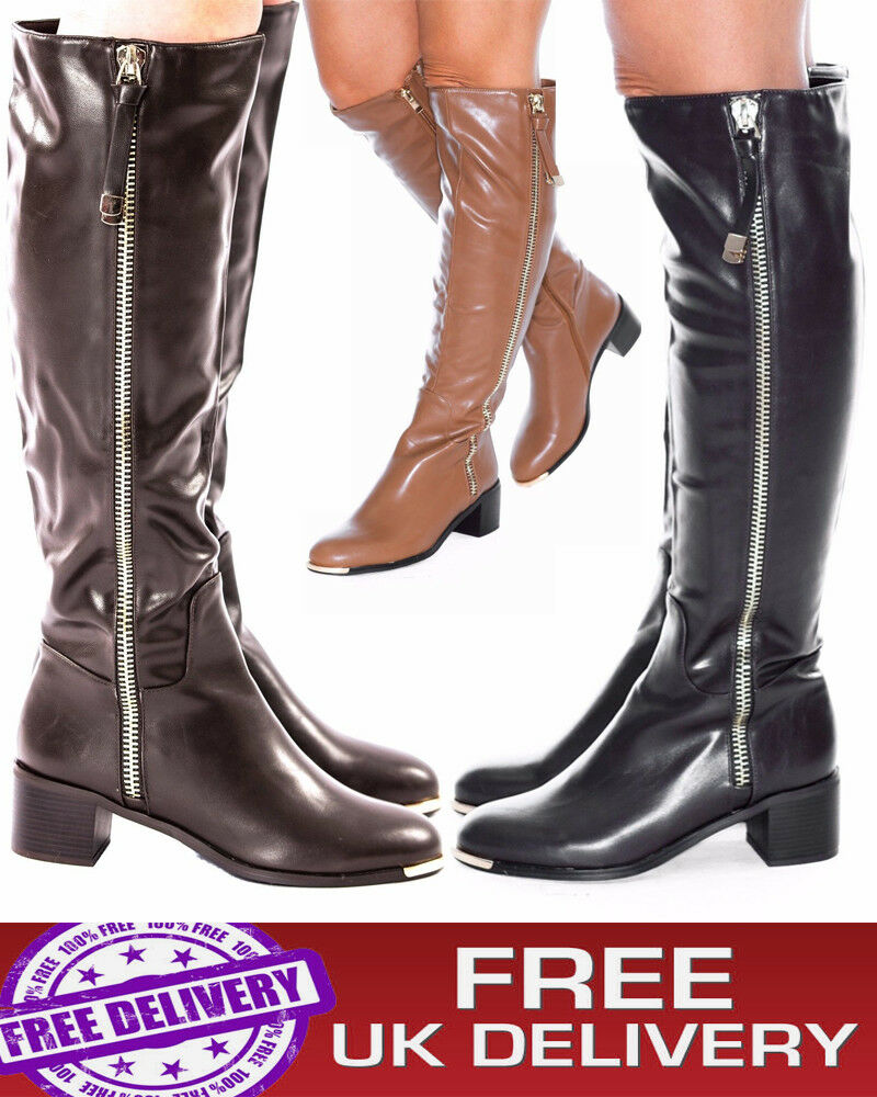 Women's Knee High Ladies  Boots  Block Mid High Heels Winter Riding Biker Shoes