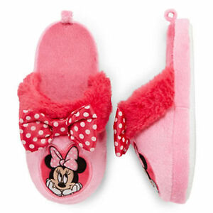 Disney Collection Girls Pink Minnie Mouse Slippers Size 9/10 11/12 NWT