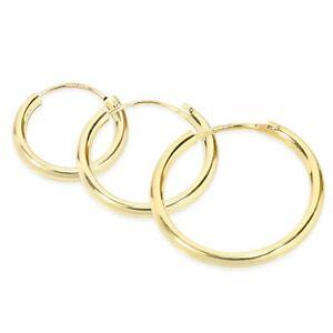 Image Is Loading 14k Solid Yellow Gold Hoop Earrings Pair Or