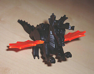 LEGO - Dragon Classic, Complete Assembly w/ Trans-Neon Orange Wings - Black