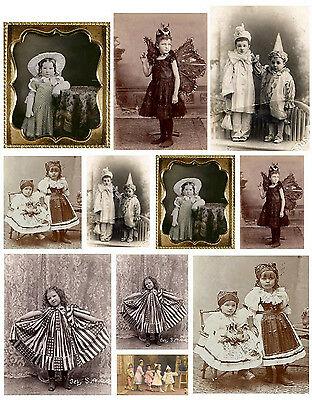 Vintage Kids in Costumes Real Photo Collage Sheet Laser Print