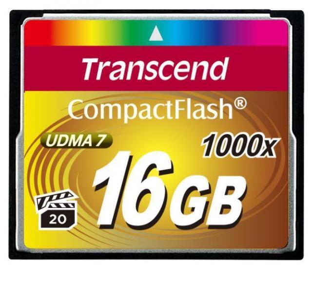 16GB Transcend 1000x ultime carte de mémoire CompactFlash UDMA 7