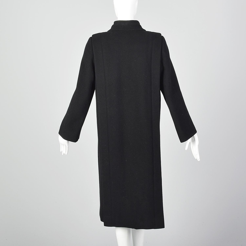Small 1980s Pauline Trigere Coat Black Wool Winte… - image 2