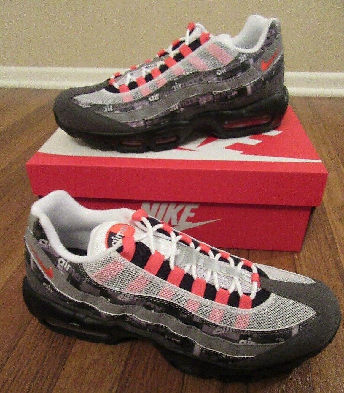 Nike Air Max 95 Print Size 11.5 Black Bright Crimson AQ0925 002 We Love Nike NIB