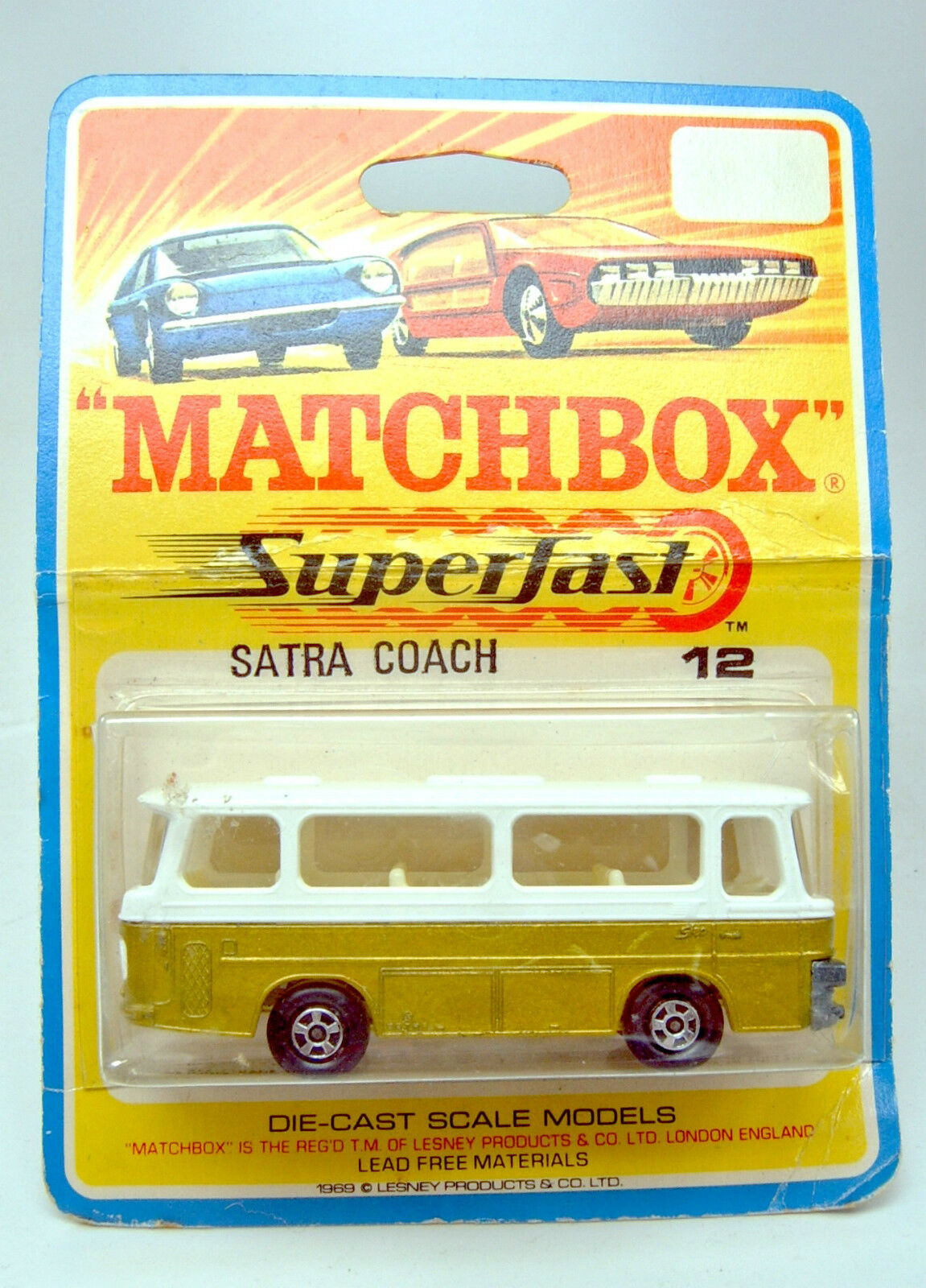 Matchbox Superfast Nr. 12B Setra Coach Or  & wei  auf rarer 1969 Blisterkarte | Approvisionnement Suffisant Et Une Livraison Rapide  | La Qualité Et La Quantité Assurée  | Des Styles Différents