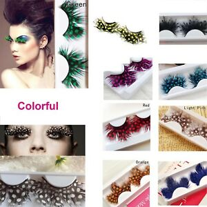 Natural-Women-Feather-False-Eyelashes-Eyes-Lashes-Dot-Peacock-Charm-Party-Better