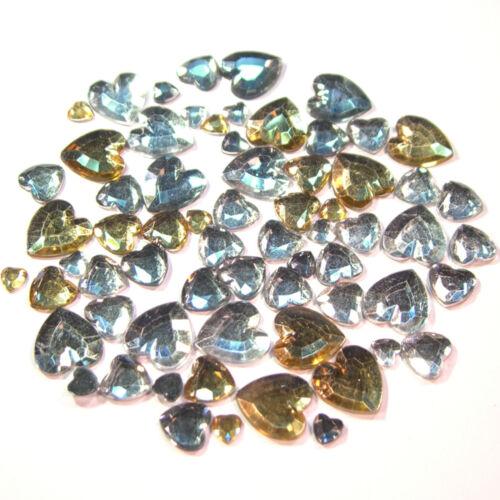 de acrílico de pedrería-piedras oro 10x10 14x14mm claro marrón 60 trozo de corazón 6x6