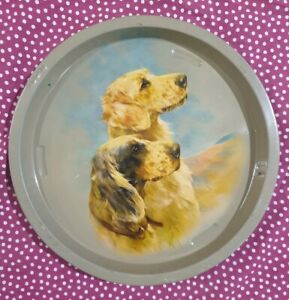 India-Vintage-Tin-Tray-TWO-DOGS-12-50in-across