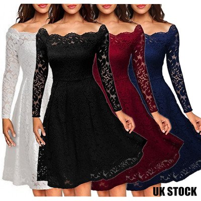 Womens Rockabilly Floral Lace Cocktail Prom Gown Party Evening Skater Ball Dress
