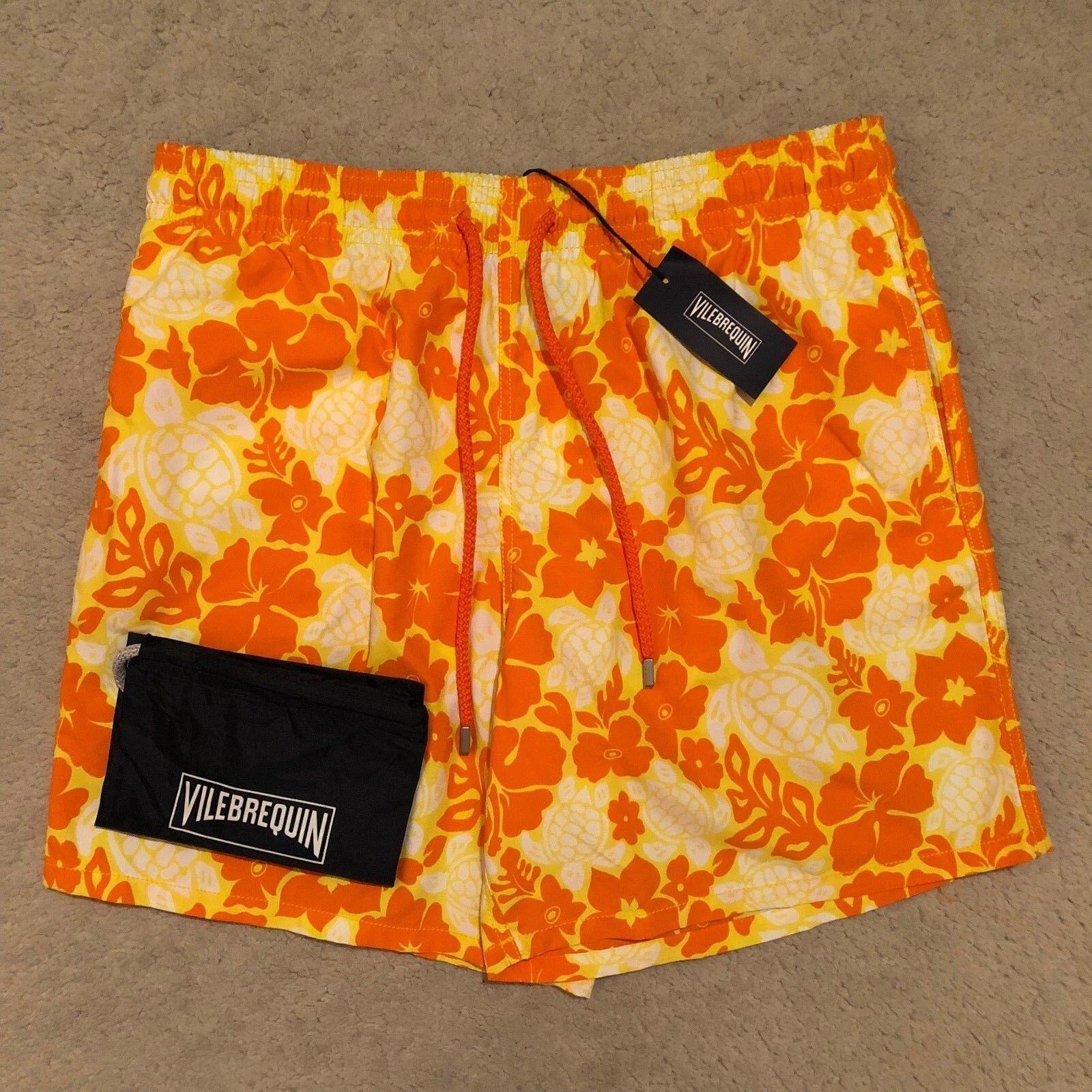 Vilebrequin Moorea Hawaiian Turtles Swim Shorts - Citron RRP €190.00