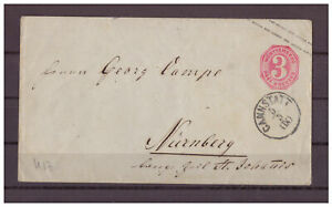 Wuerttemberg-Entier-Postal-U-17-K-1-Bad-Cannstatt-Apres-Nuremberg-Gare-1869