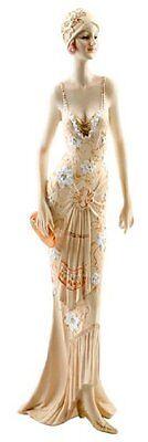 Art Deco Broadway Belles Lady Figurine Peach Dress Decorative Gift Ornament