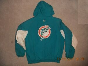 a9d23bbb Details about Vintage Miami Dolphins Starter Winter Jacket Parka Authentic  Pro Line 2x Full Zp