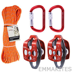 4-1 or 5-1 Mechanical Advantage Pulley System Set with 100ft Rope for Rigging