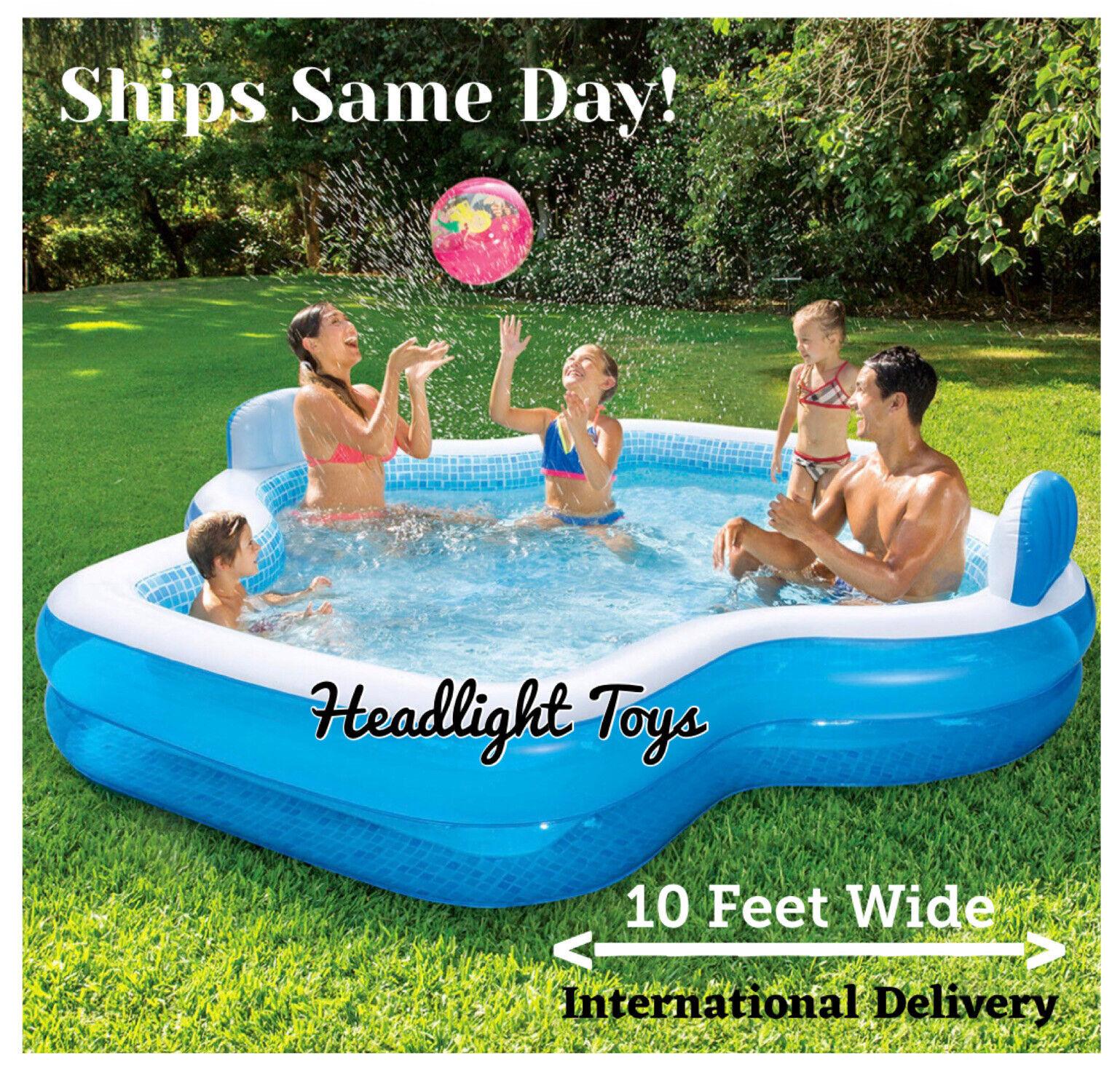 Member's Mark Family Inflatable Swimming Pool Kids Lounge Swim Center 2 Seats