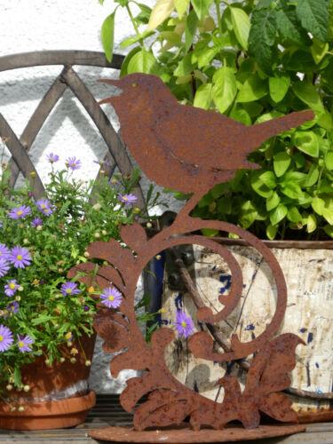 Vogel Figur auf Barockornament 30 cm Edelrost Dekoration singende Nachtigall