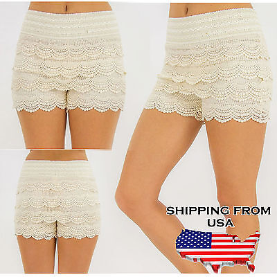 Plus Size Lady's Womens Lace Crochet Shorts Elastic Waist Mini HOT Pants Short