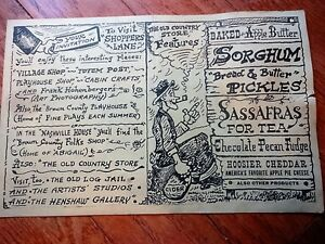 Menu Nashville House Dinners Brown county IND Est 1859 Vintage